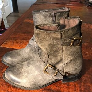 Distressed vegan faux leather moto boot